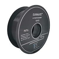 iSANMATE 3D プリンター用 PETG フィラメント 1.75mm径 寸法精度+/- 0.03mm 1KG (2.2LBS) スプール造形材料 3Dペン用 汎用型 ブラック 黒 3D printing filament
