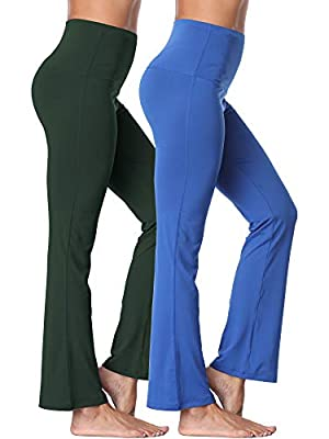 Neleus Women's 2 Pack Tummy Control High Waist Yoga Pants Bootleg Flare Pants Inner Pocket,106,Blue,Dark Green,US 2XL