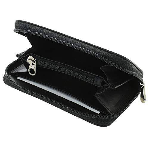 XiRRiX Portemonnaie Damen klein/Kleiner Geldbeutel mit Reißverschluss/kleine Geldbörse/Mini Portmonee Frauen/Schwarze Ledergeldbörse/echt Leder - schwarz