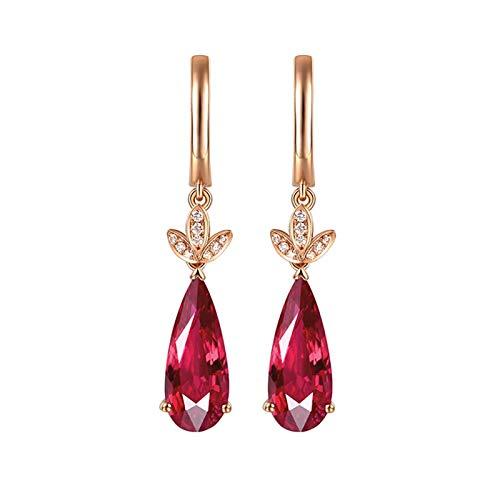 AueDsa Orecchino Oro Rosa Orecchini Donna Oro Rosa 18K Gota con Foglia Diamante Tormalina Rosso Bianca 4.2ct