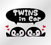 ペンギン柄ドライブサイン カッティングステッカー (TWINS, 黒)