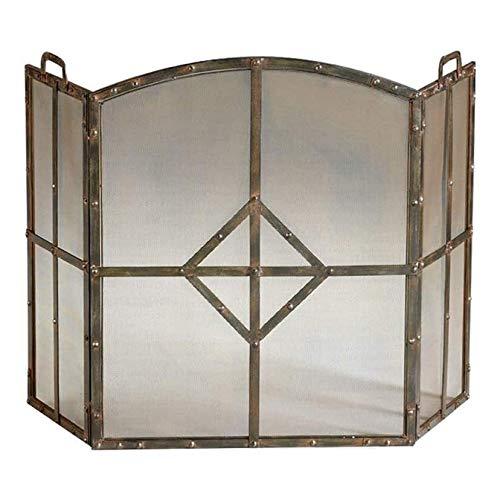 Protector de Chimenea Pantalla Chimenea chispa Protección único y audaz Fuego Anterior pantalla, 3 paneles de la pantalla de hierro chimenea for la sala de estar, gran chimenea Estufa de pantalla Chil