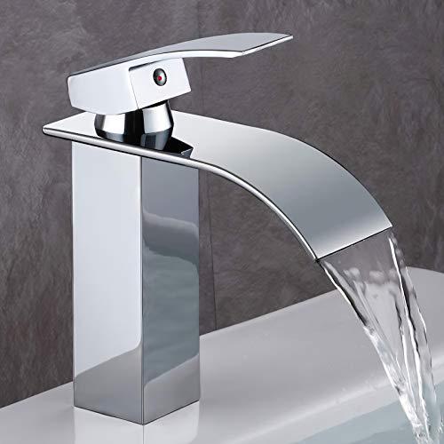 GAVAER Wasserfall Wasserhahn Bad, Einhandmischer Waschtischarmaturen,Kaltes und Heißes Wasser Vorhanden, Messing Verchromt, waschtischarmatur für bad Moderner Stil, Lebenslange Garantie.