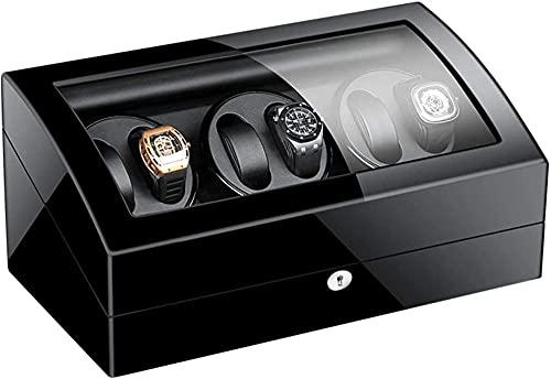 MAIGOU Automatische Uhr Wicker Lageranzeige Uhrenbox Schwarz Klavier Finish Glasplatte Lederfutter Ruher Motor-Schwarz_8 + 9. Baifantastic