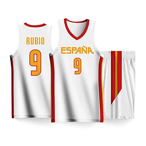 QQLONG Ricky Rubio Gasol Gómez del Sur, Uniforme de Baloncesto de la Copa Mundial de Baloncesto 2019, Chaleco español + Traje Corto, Secado rápido, transpirable-White9-2XS