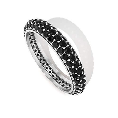 Anillo de Eternity Band, 1,6 quilates, anillo de ónix negro, anillo de oro, anillo de boda simple, 14K Oro amarillo, Size:EU 50