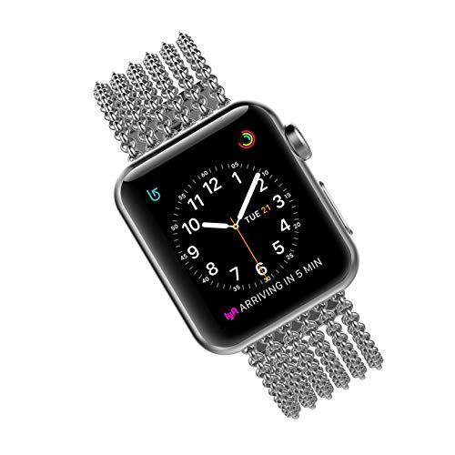 Wearlizer für Apple Watch Armband 42mm 44mm, Edelstahl Metall iWatch Straps Ersatzband Uhrenarmband Wristband Zubehör für Apple Watch Serie 4 / Serie 3 / Serie 2 / Serie 1 - Silber