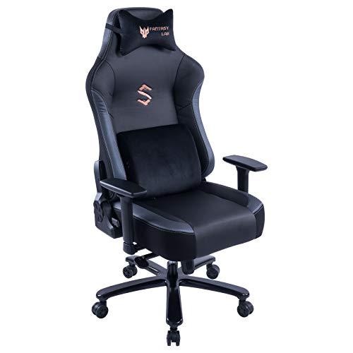 FANTASYLAB Big & Tall 400lb Massage Memory Foam Gaming Chair, Adjustable Tilt Back Angle, 3D Armrest High-Back Metal Base PU Leather Racing Executive Computer Desk Office Chair, Grey