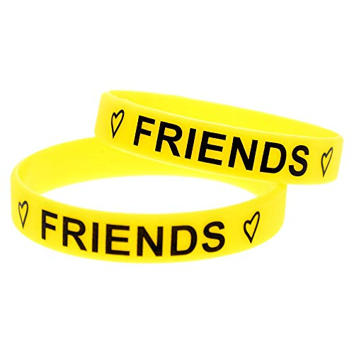 Xlin Pulsera De Silicona Mejores Amigos Forever Silicone Mano Anillo De Mano Amistad Pulsera Conmemorativa Impresión (Color : Yellow)