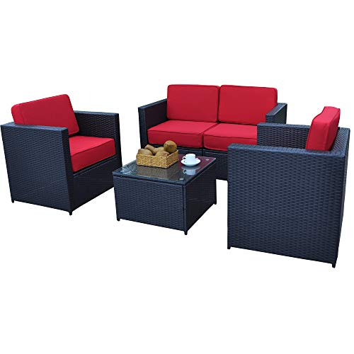 Mcombo Patio Furniture Sectional Set Wicker Sofa All-Weather Resin Black Rattan Chair Conversation Sofas with Water Resistant Cushion Covers 6085-S1004 (Red)