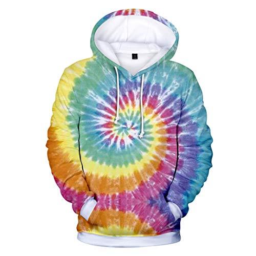 JCNHXD Men 3D Tie Dye Plus Size Casual Hoodies Women Street Wear Thin Hip Hop Sweatshirts Sky Blue M