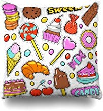 GFGKKGJFF0812 parche de parche con insignia de comida dulce, parches de golosinas, retro, bebida, chocolate, helado, cumpleaños, caniche de 18 x 18 pulgadas, para sofás, asientos, fundas de almohada, fundas de almohada para niñas