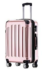 BEIBYE Twin Wheels 2048 Hard Shell Trolley Koffer KofferBagage in M-L-XL Set (Pink Gold, XL)*