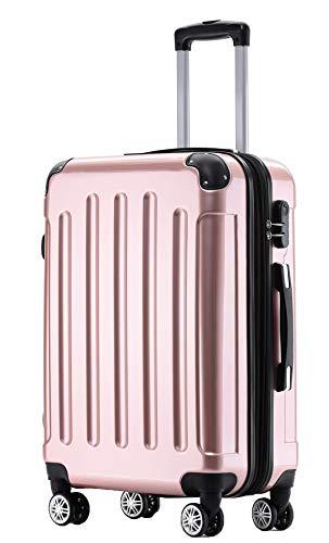 BEIBYE Zwillingsrollen 2048 Hartschale Trolley Koffer Reisekoffer Taschen Gepäck in M-L-XL-Set (Rosa Gold, XL)