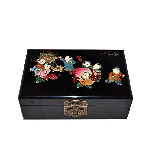 LWW Caja Joyero Chino,Caja de joyeríacerradura de Caoba Caja de Almacenamiento China Cofre del Tesoro de Madera Maciza Retro Muebles y Regalos orientales