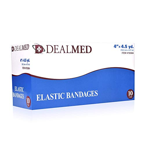 Dealmed Compression Bandages with Clip Closure | Stretch Elastic Wraps for Foot, Ankle, Knee, Leg, Arm & Body, Muscle Sprains, Sports Injury, Edema & Wound Care (4 Inch Pack of 10)