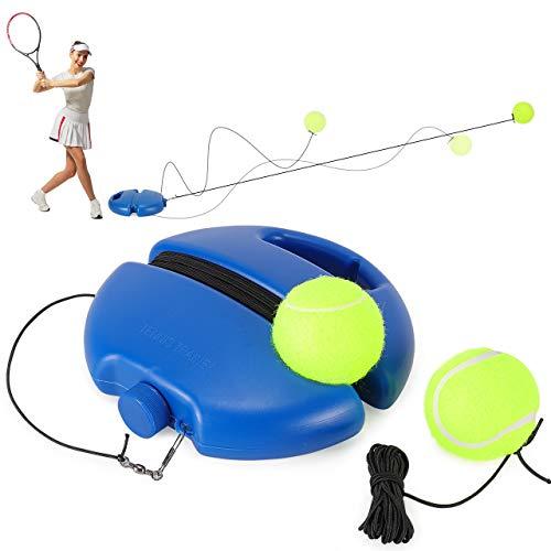 Fostoy Entrenador de Tenis, Tenis de Entrenamiento Solo con Elástica de Goma y 2 Pelotas de Repuesto, Auto Práctica Entrenador Pelota de Rebote de Tenis para Niños, Adultos, Principiantes