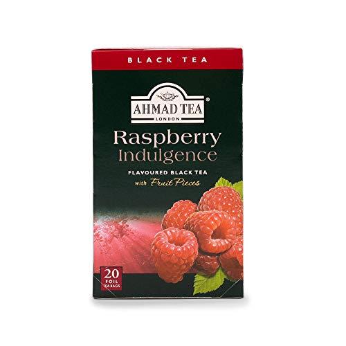 Ahmad Tea - Raspberry Indulgence | Schwarzer Tee mit Himbeergeschmack | 20 Teebeutel á 2 g | Teebeutel mit Band