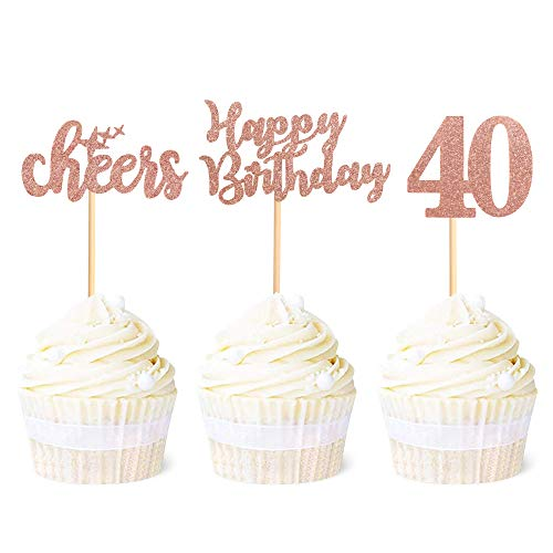 Ercadio 36 Pack Rose Gold Glitter 40th Happy Birthday Cupcake Toppers Number 40 Forty Cheers Cupcake Picks 40th Birthday Anniversary Party Cake Decorations