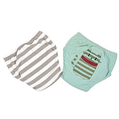 G-Kids 2er Pack Baby Training Pants Trainerhosen Trainingswindel Waschbarer Cartoon Unterwäsche Unterhosen Windelhose Töpfchenwindel für Jungen Mädchen Grün 80