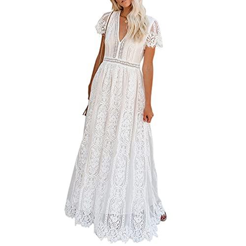 Jywmsc Vestido Largo y Vaporoso con Encaje Blanca Floral para Mujer, Informal, Elegante y Bohemio, para Verano