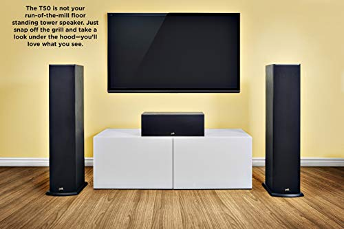 Polk Audio T50 150 Watt Home Theater Floor Standing Tower Speaker (Single, Black) - Hi-Res Audio with Deep Bass Response   Dolby and DTS Surround, 9.25 x 8.75 x 36.5 inches