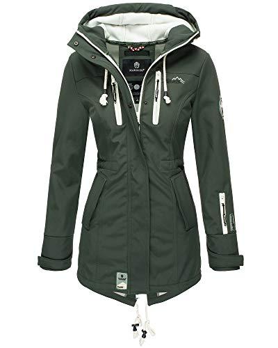 Marikoo Damen Jacke Softshelljacke Übergangsjacke Outdoor Winddichte Wasserabweisend Funktionsjacke mit Kapuze XS - XXL Zimtzicke (Grün, L, l)