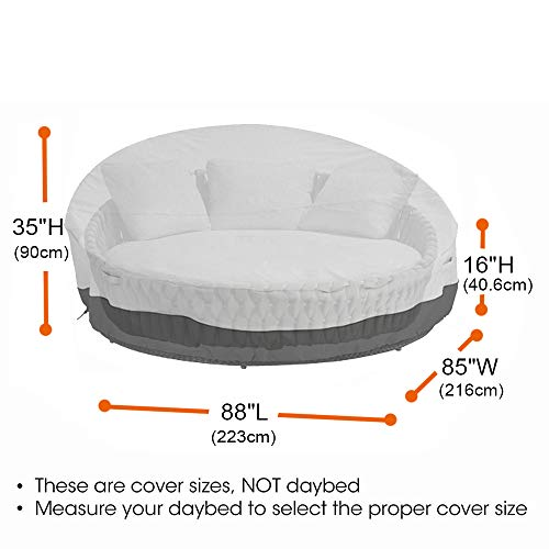 Mitef Waterproof Round Canopy Daybed Sofa Cover,Heavy Duty Outdoor Patio Furniture Air Vent Cover,88' Lx85 Wx35/16' H(223x216x40.6/90cm),Grey&Black