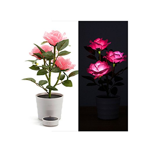 Xhope Solar Rose Flower Lights,LED Lighted Artificial Rose Pot with 3 Lights,Flower Bonsai LED Light Lamp Nightlight for Home Garden Room Office Hotel (Pink)