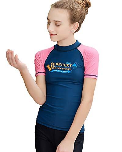 DaobaKIDS Kurzarm Badeshirt für Kinder Schwimmshirt Jungen Mädchen Schwimmen Tauchanzug Sonnenschutz Kleidung Badeanzug