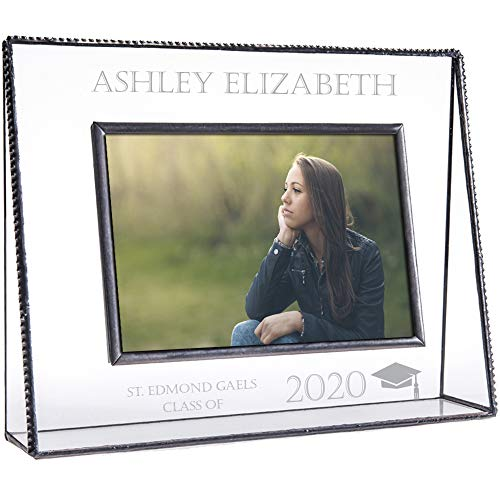 Graduation Picture Frames Personalized Class of 2020 Gift Engraved Glass Photo College High School Middle Graduate Multiple J Devlin Pic 319 EP500 (5x7 Horizontal)