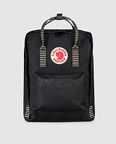 Fjällräven Unisex's Kånken Backpack, Black-Striped, One Size
