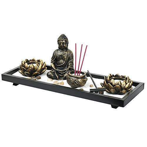 Mini Zen Garden Buddha Statue Incense Sticks Burner Holder with Glass Tealight Candle (Zen-38x15x12cm)