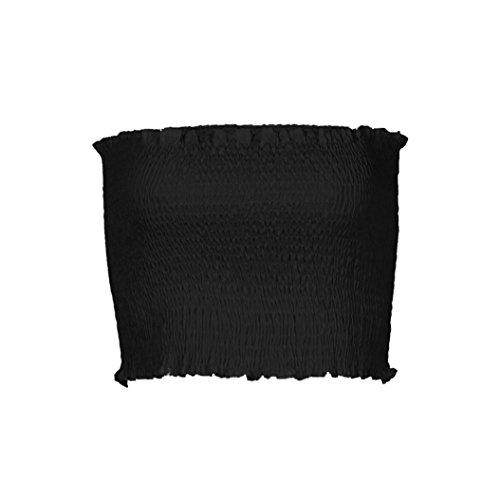 OVERDOSE Frauen trägerlosen elastischen Boob Bandeau Tube Tops BH Dessous Brust Wrap Bluse Sommer Basic Tops (A-Black,36 DE/S CN)