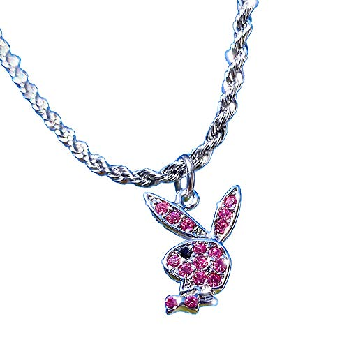 Hip-Hop Rhinestone Playboy Rabbit Pendant Necklace Stainless Steel Y2k...