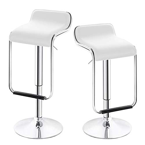 Huracan Bar Stools Set of 2 Bar Chairs White Adjustable Bar Stool Counter Height Stools with Back...