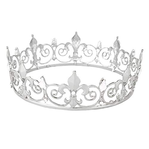 King Crown,Vofler Prince Costume Royal Medieval Fleur De Lis Metal Cake Topper Tiara w/ Clear Crystals for Men Boy Queen Bachelor Birthday Halloween Costume Hats Party Prom Pageant Homecoming, Silver