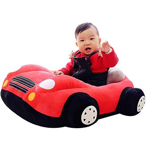 FCFLXJ Baby Plüsch Stützsitz, bequemer Kindersofa Sicherheitssitz, geeignet für Babys von 1-16 Monaten, Lernsitz Schaukelstuhl Geschenk,Rot