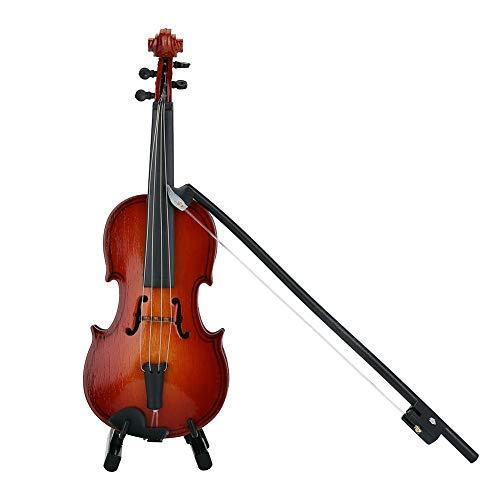 MAGT Massivholz Miniatur Violine Instrument Modell , Rosenholz Farbe Mini Musical Ornamente mit Hard Case, Halter, Bow - Home Decor und Musikliebhaber beste Geschenk