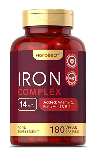 Iron Complex | 180 Vegan Capsules | + Vitamin C, Folic Acid & Vitamin B12 | Supplement for Men & Women | 6 Months Supply | Non-GMO, Gluten Free