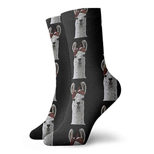 Lindo y adorable bandana gángster llama matón lama calcetines clásicos deportes cortos calcetines 30 cm/11.8 pulgadas adecuado para hombres y mujeres