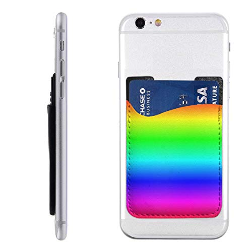shanghaiyongyunshangwu Rainbow Cell Case Stick-On Card Holder For Back Of Phone Phone Card Holder 2.4 * 3.5inch For Most Of Smartphones