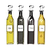 Olive Oil Dispenser Bottle - 250ml Oil and Vinegar Glass Bottle with Gravity Automatic Opening and Closing Spout for Kitchen,4 Pack