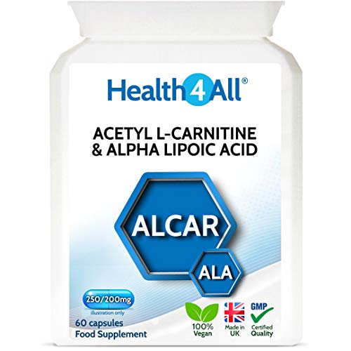 Acetyl L-Carnitine 250mg & Alpha Lipoic Acid 200mg 60 Capsules (V) Vegan ALCAR ALA Capsules. Made by Health4All