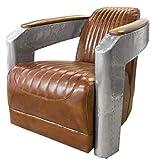 Casa Padrino Art Deco Sillón Aluminio Cuero Real Marrón/Plata 74,5 x 94 x H. 78 cm - Sillón Club - Sillón Lounge - Muebles de Aviador para Aviones
