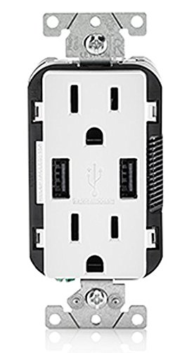 3 Pack Leviton T5632-W USB Charger/15 Amp, 125...