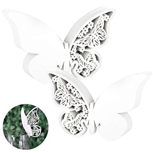 HO2NLE 100pcs Etiquetas Mariposas Decorativas Boda Tarjetas Copas Forma Mariposa Papel Blancas para Recuerdos de Boda Mariposas Nombres Mesa Invitados Detalles Comunion Bautizo Regalos Marcasitios