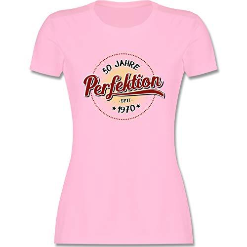 Geburtstag - 50 Jahre Perfektion seit 1970 - M - Rosa - t-Shirt Birthday - L191 - Tailliertes Tshirt für Damen und Frauen T-Shirt