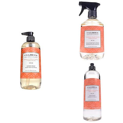 Caldrea Kitchen Set, Tangelo Palm Frond, 3 ct: Dish Soap (16 fl oz), Hand Soap (10.8 fl oz), Countertop Spray (16 fl oz)