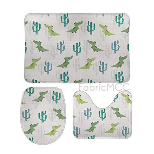 Alfombras de baño para baño antideslizante y absorbente, cocodrilo tropical acuarela cactus cocodrilo, saguaro animal y juego de alfombrillas de baño de 3 piezas